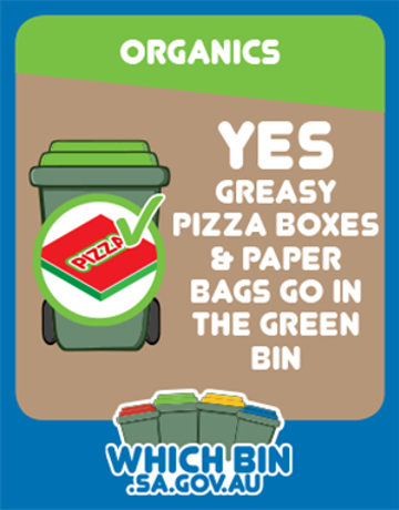 Greasy pizza boxes and paper bags can go in the green bin.