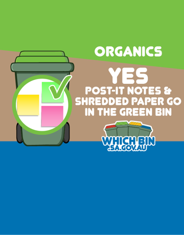 Post-it notes are good to go in the green bin.