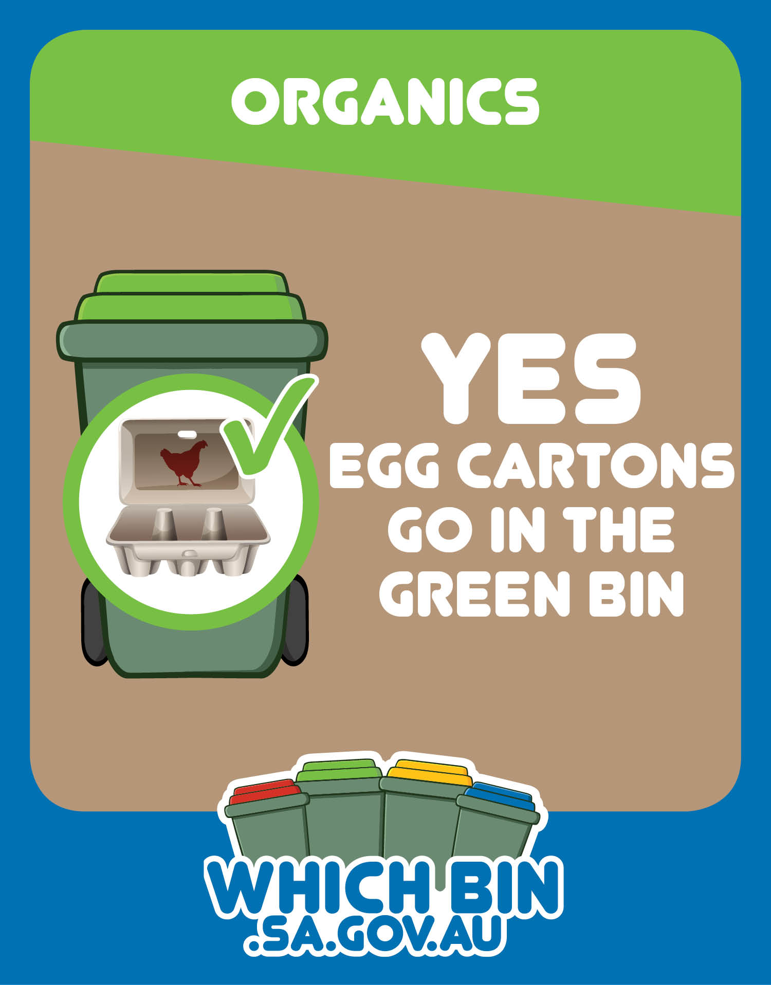 Cardboard egg cartons are good to go in the green bin.
