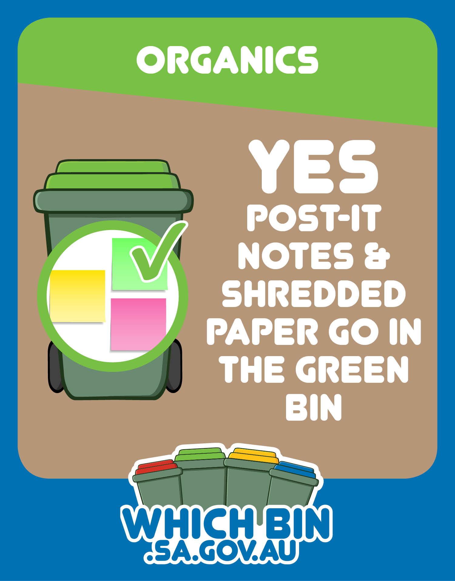 Shredded paper is good to go in the green bin.