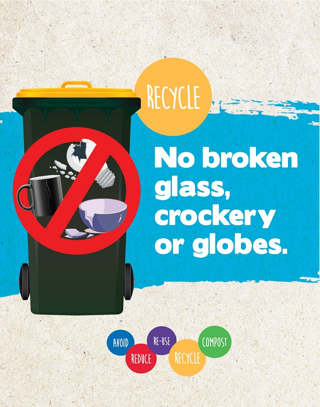 No broken glass, crockery or light globes in the yellow lid recycle bin!